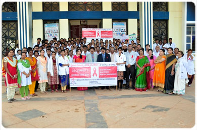 <b>A Report on World AIDS Day Program & Rally, on 01  Dec 2017 - Faculty in a rally at Vikarabad with AIDS Awareness Ribbon.</b>